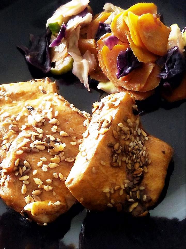 saumon asiatique légumes croquants