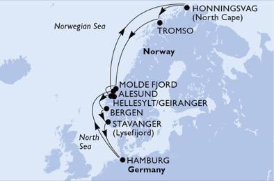 itinéraire croisière Norvège